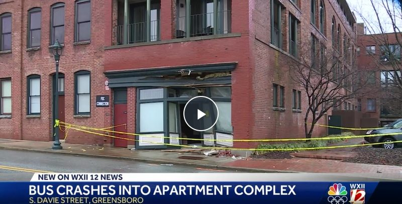 Greensboro apartment complex damaged after bus crashes into it